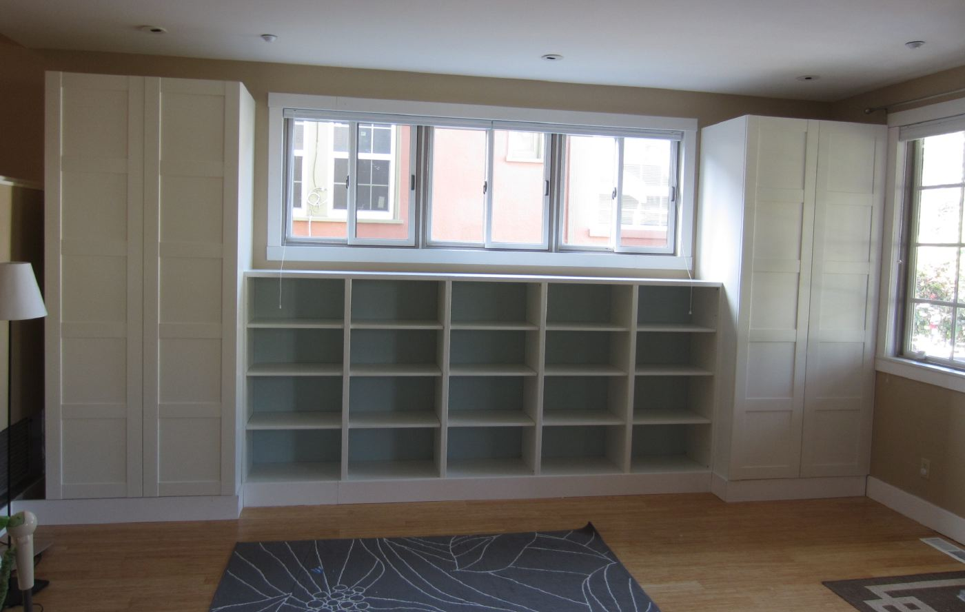 DIY: Built ins using IKEA Besta shelves and Pax wardrobes